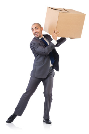 Businessman with box isolated on the white photo