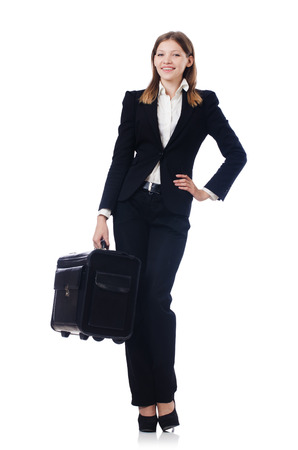 Businesswoman travelling isolated on white Stock Photo - 22311479
