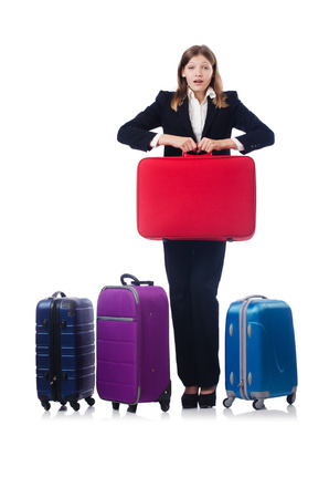 Businesswoman travelling isolated on white Stock Photo - 22311482