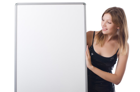 Young woman with blank poster photo
