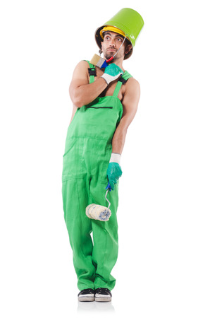 Painter in green coveralls on white Stock Photo - 22278186
