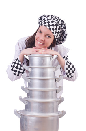 Cook with stack of pots on white Stock Photo - 22276970