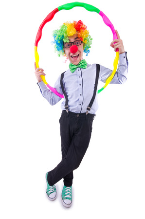 Funny clown with hula hoop on white photo