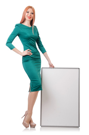 Woman in green dress with blank board Stock Photo - 22278208