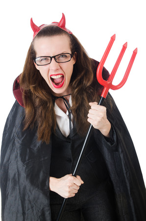 Female wearing devil costume and trident photo