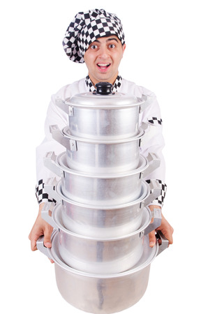 Cook with stack of pots on white Stock Photo - 22328305