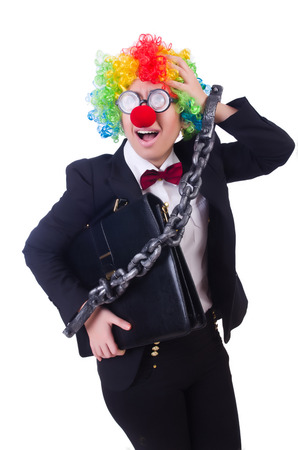 Businessman clown isolated on white Stock Photo - 22331994