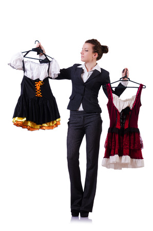 Woman trying new clothing on white Stock Photo - 22475680