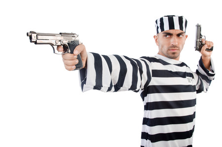 Prisoner with gun isolated on white photo