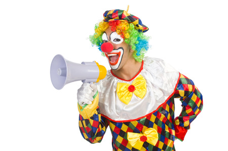 Clown with loudspeaker on white Stock Photo - 22475737