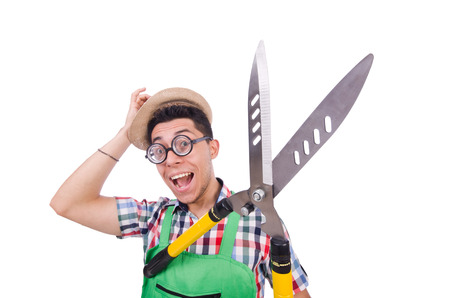 Funny man with shears on white photo