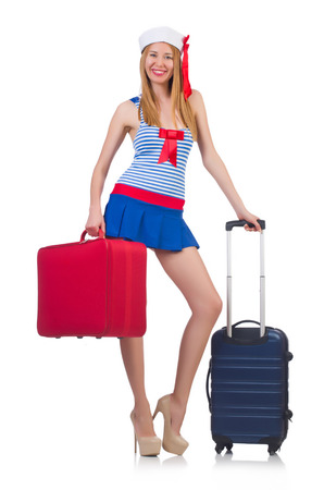 Woman travel attendant with suitcase on white Stock Photo - 22332706