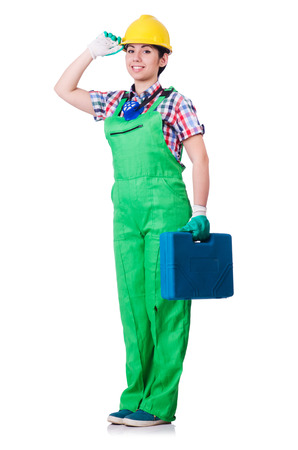 Young woman in green coveralls photo