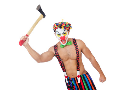hatchet man: Clown with axe isolated on white