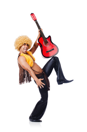 Male guitar player isolated on the white Stock Photo - 22328121