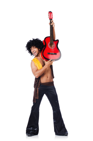 Male guitar player isolated on the white Stock Photo - 22328122