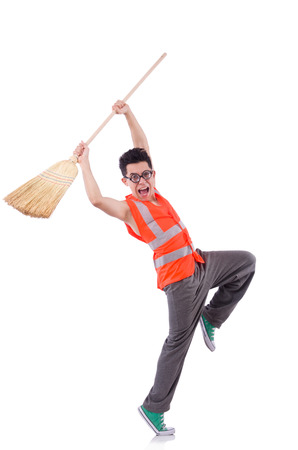 Funny janitor isolated on white photo