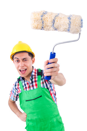 Funny painter isolated on white Stock Photo - 22328009