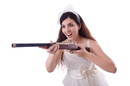 Bride with rifle isolated on white Stock Photo - 22327940