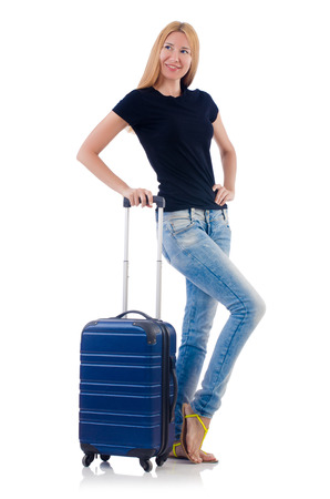Woman preparing for vacation on white Stock Photo - 22327952