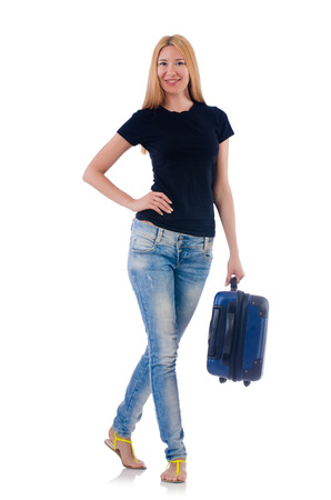 Woman preparing for vacation on white Stock Photo - 22327953