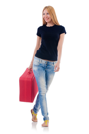 Woman preparing for vacation on white Stock Photo - 22327955