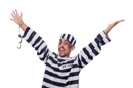 Badly bruised prisoner with handcuffs Stock Photo - 22327607