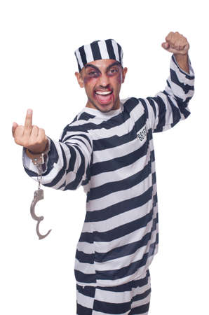Badly bruised prisoner with handcuffs Stock Photo - 22327654