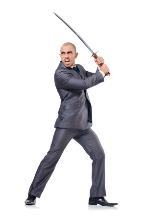 Businessman with sword isolated on white photo