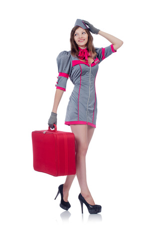 Woman travel attendant with suitcase on white Stock Photo - 22327168