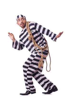 Convict criminal in striped uniform Stock Photo - 22327198