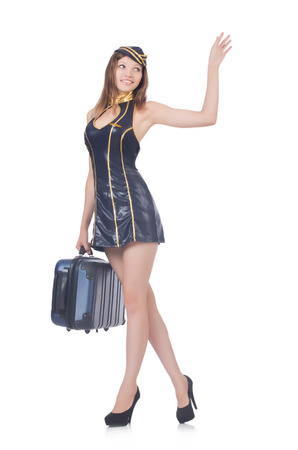 Woman travel attendant with suitcase on white Stock Photo - 22327224
