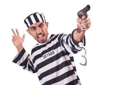 Prisoner with gun isolated on white Stock Photo - 22326978