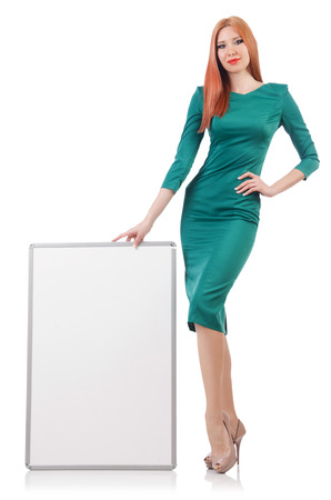Woman in green dress with blank board Stock Photo - 22327006