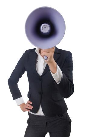 loudspeaker: Woman with loudspeaker on white