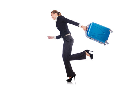 Businesswoman travelling isolated on white Stock Photo - 22326889
