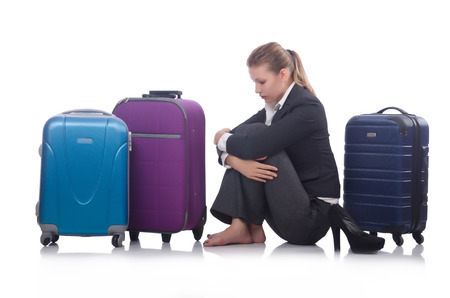 Businesswoman travelling isolated on white Stock Photo - 22326938
