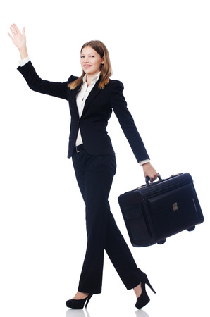 Businesswoman travelling isolated on white Stock Photo - 22326853