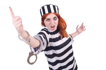 Prisoner in striped uniform on white Stock Photo - 22326717
