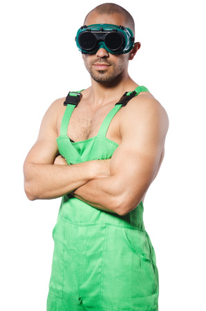 Man in green coveralls with goggles Stock Photo - 22326776