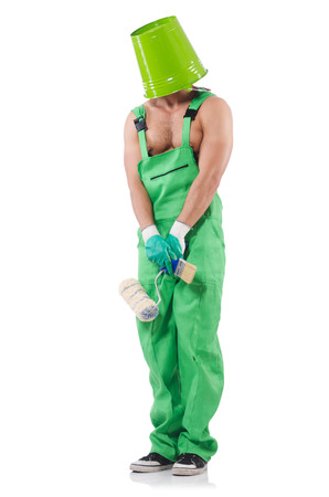 Painter in green coveralls on white Stock Photo - 22326653