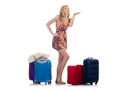 Woman preparing for travel on summer vacation Stock Photo - 22475819