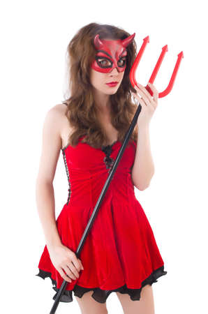 Woman as red devil in halloween concept photo