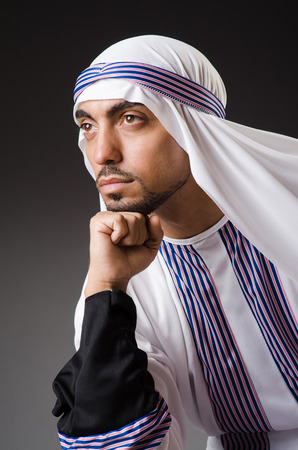 Arab man in deep thinking mode photo