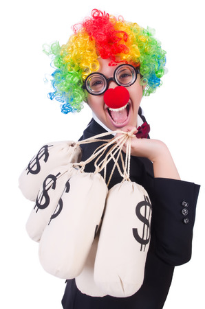 Businessman clown isolated on white Stock Photo - 22475864