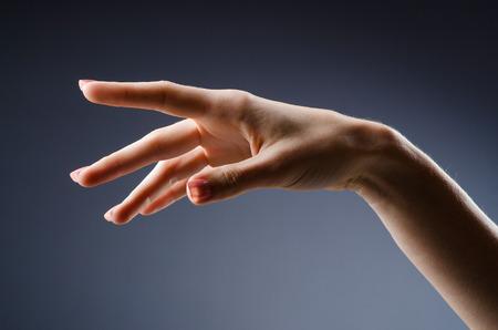 Woman hands against gradient background photo