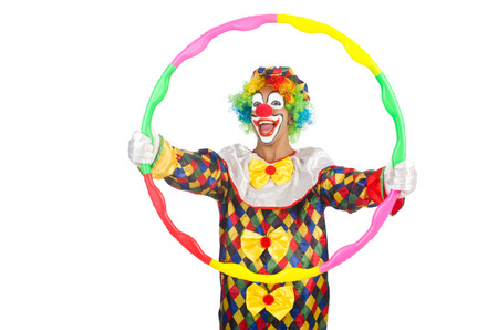 Clown with hoop isolated on white photo