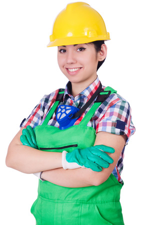 coveralls: Young woman in green coveralls