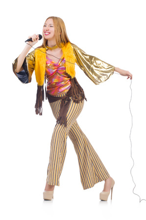 Woman in spanish clothing with mic photo