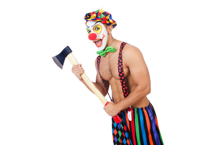 Clown with axe isolated on white photo